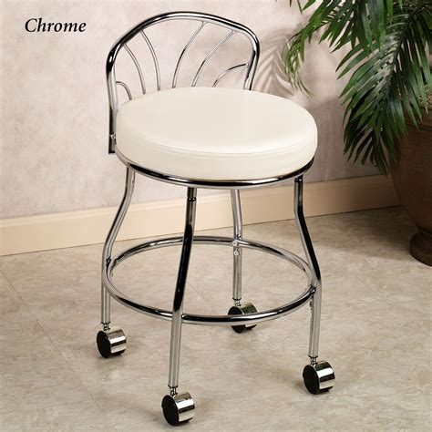 Flare Back Metallic Finish Vanity Chair With Casters Vanity Bathroom Chairs