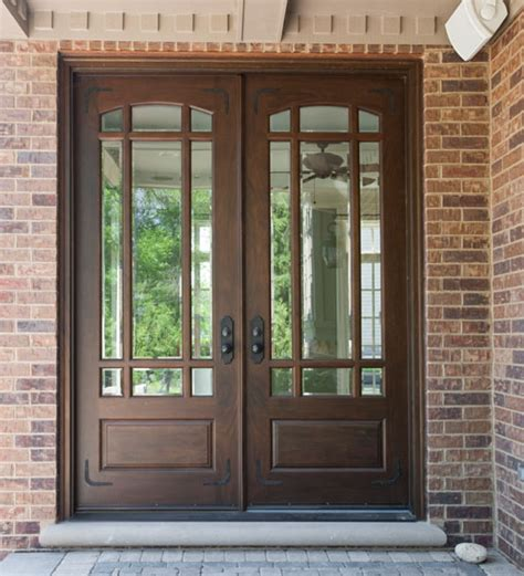 wood front door front door custom double solid wood with walnut finish