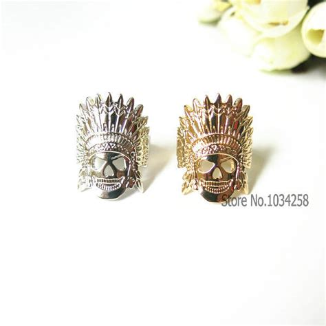new design dainty indian chief skull ring indian jewelry