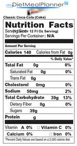 sodas classic coca cola coke detailed nutrition facts