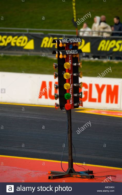 starting christmas tree lights for drag racing stock photo