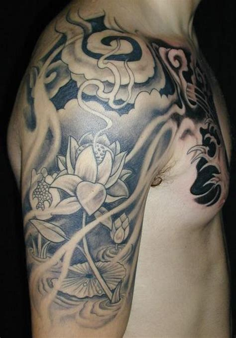 lotus tattoo half sleeve grey ink lotus flower japanese half sleeve tattoo
