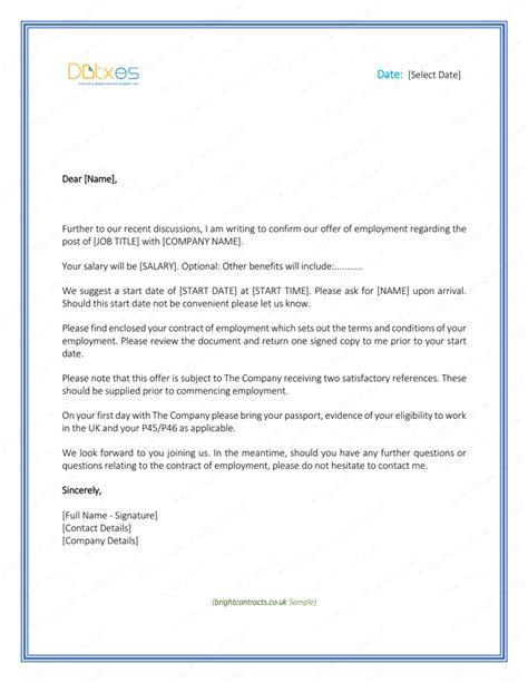 job offer letter template uk lettering job