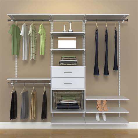 Closet Organization Kits by Organized Living Freedomrail 7 Foot White Wood Closet Kit
