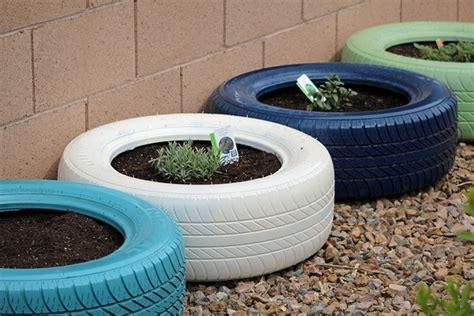 Tire Garden by Spray Painted Tires Garden Tire Gardens