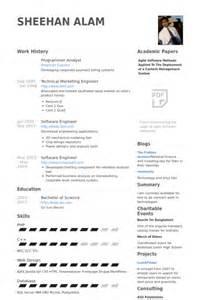 Cv In Programmer Programmer Analyst Resume Sles Visualcv Resume Sles Database