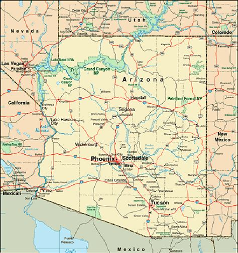 arizona map with cities arizona map vacation idea