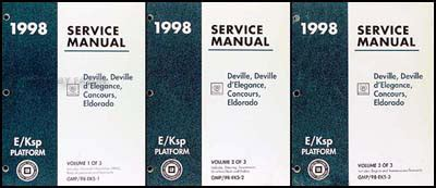 service manual 1998 cadillac eldorado service manal 1998 cadillac catera owners repair 1998 deville d elegance concours eldorado repair shop manual original set
