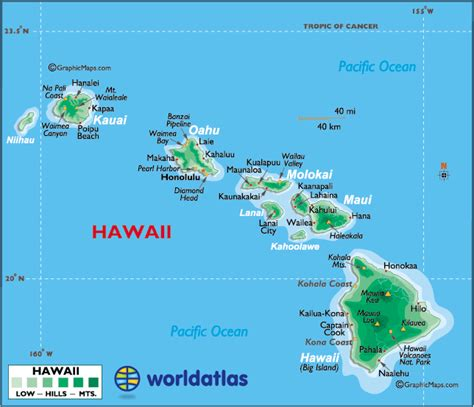 map of hawaii islands map of hawaii large color map