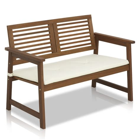 hardwood benches tioman hardwood outdoor bench in teak oil with white cushion