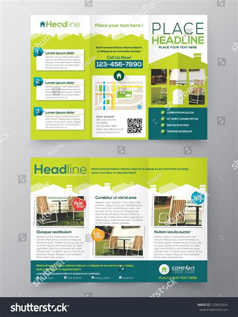 Real Estate Brochure Flyer Design Vector Template In A4 Size Tri Fold 210432454 Shutterstock A4 Size Tri Fold Brochure Template