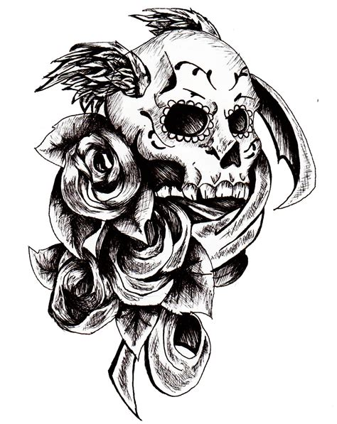 black rose skull tattoo designs 54 pirate skull tattoos collection