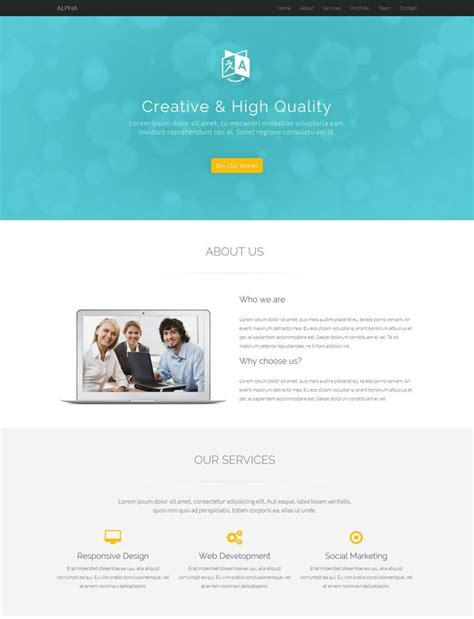 alpha one page free bootstrap template alpha is a free multipurpose and responsive one page