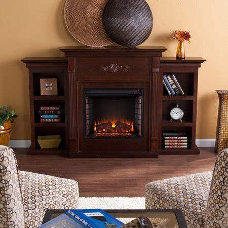 fireplace with bookcase new southern enterprises griffin electric fireplace with bookcases espresso walmart