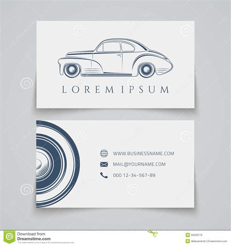 car card template business card template classic car logo stock vector