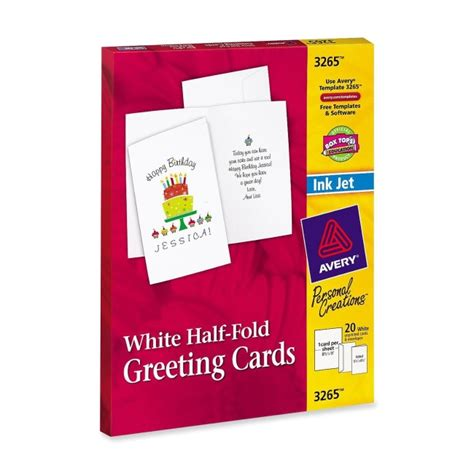 avery card templates half fold avery half fold greeting card 20 box matte 20