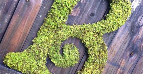 large moss covered letter b rustic wedding sign by