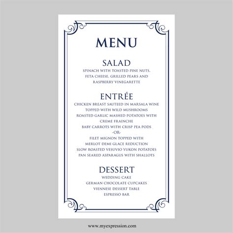 Wedding Menu Card Template Ornate Frame Navy By Myexpressionshop Menu Card Template