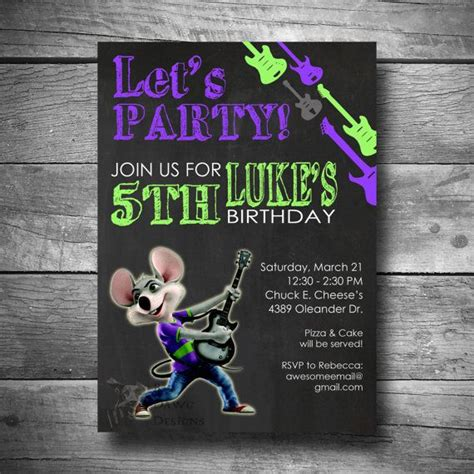 printable birthday invitations chuck e cheese chuck e cheese birthday invitation printable chalkboard