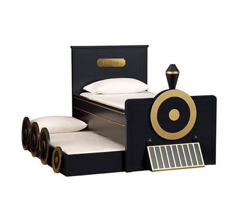 train bedding personalized train bed trundle pottery barn kids