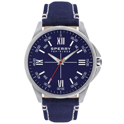 sperry top sider mens kinney blue canvas 44mm
