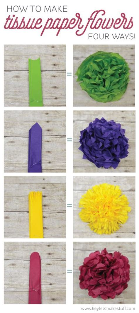 How To Make Different Types Of Flowers With Paper - how to make tissue paper flowers four ways different
