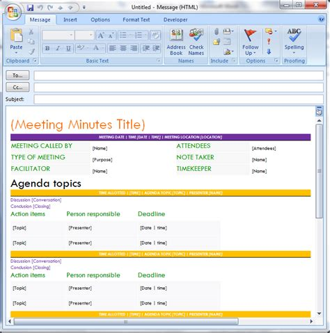 Pro Meeting Minutes Template For Email Dotxes Meeting Notes Email Template