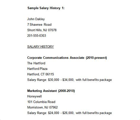 template for salary history 9 sle salary history templates free word pdf