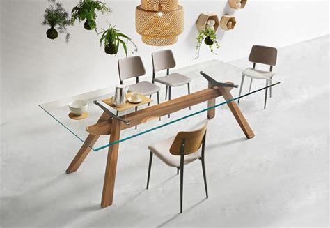 tavoli in legno e vetro tavolo da pranzo con struttura in legno e piano in vetro
