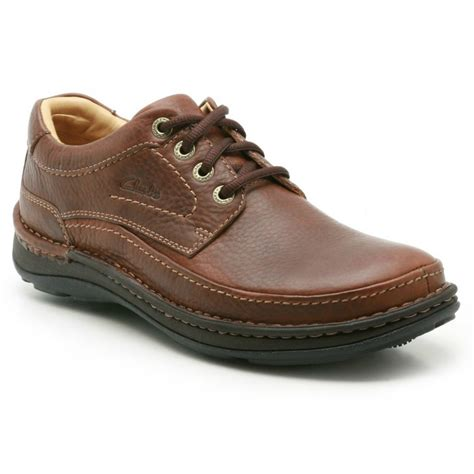 clarks mens nature three brown leather lace up shoe
