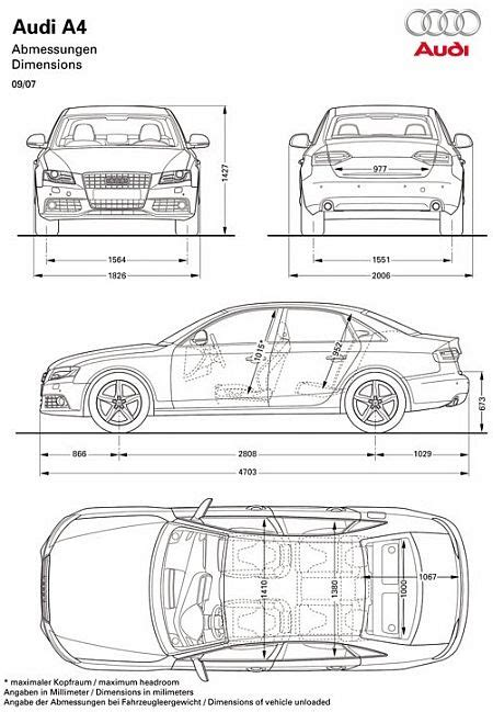 Abmessungen Audi A4 by 2008 Audi A4 Blueprint Dimensions Blueprints