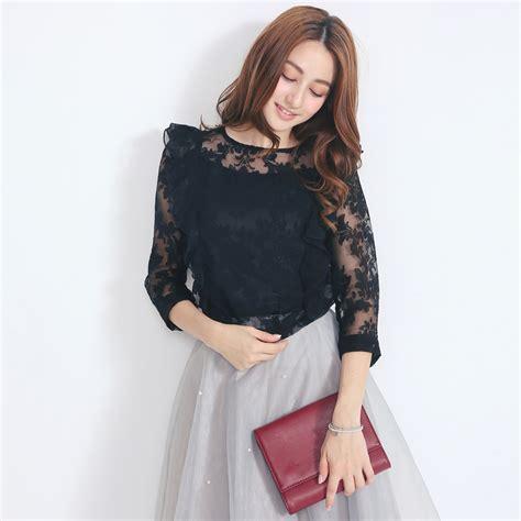 Blouse Korea Jerapa yoco womens lace applique blouse japanese korean fashion