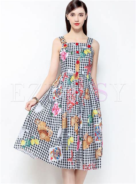 Sleeveless Plaid A Line Dress plaid print sleeveless a line braces dress ezpopsy