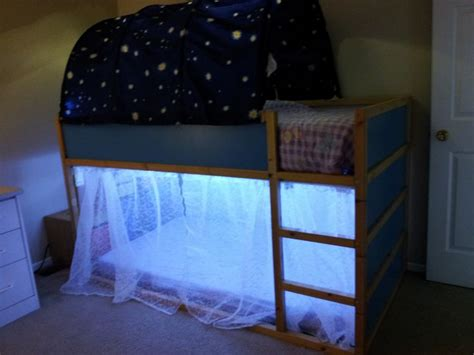 Kura Bed With A Trofast Unit For Stairs Added Some Reading Lights For Bunk Beds