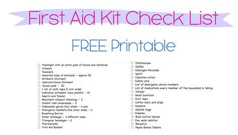 Organization Challenge Day 4 Aid Kit Checklist Template