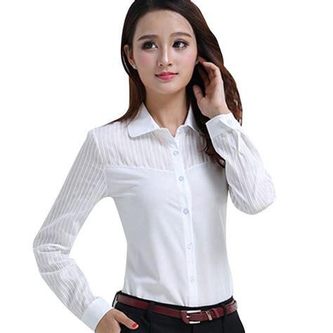 Kemeja Putih Lengan Panjang White Supplier Grosir kemeja kerja wanita beli murah kemeja kerja wanita lots