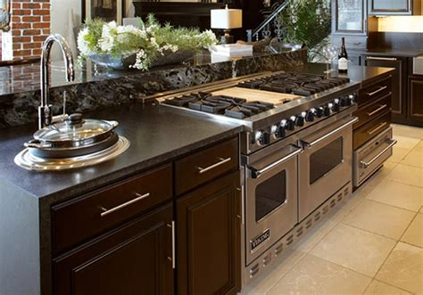 range in island kitchen island cabinets kabco kitchens