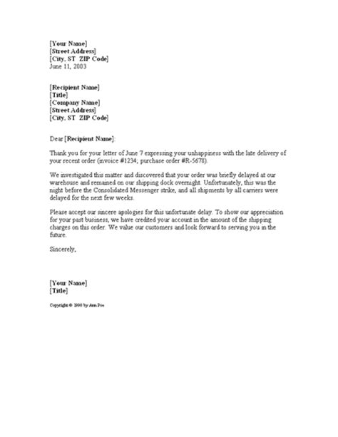 Request Payment Delay Letter Letter Apologizing For Shipping Delay For Microsoft Sle Access