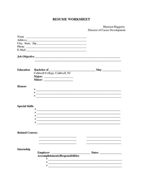 Resume Application Worksheet Resume Exle Resume Printable Forms Free Printable Resume Templates Sle Resume Printable