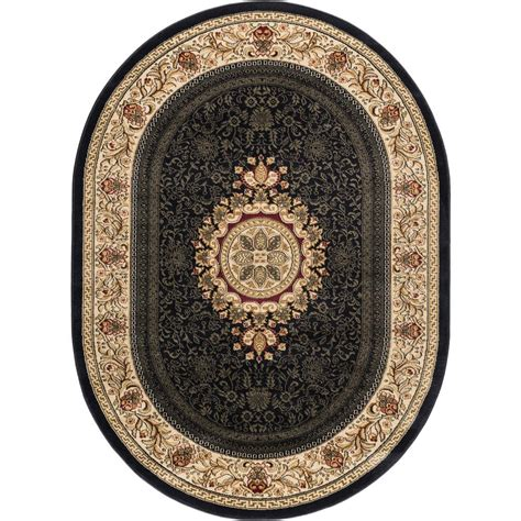 rugs 7 x 9 tayse rugs sensation black 6 ft 7 in x 9 ft 6 in traditional oval area rug 4673 black 7x10