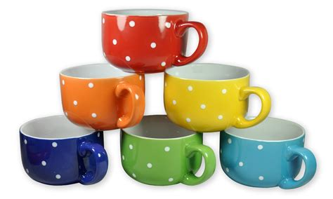 colorful polka dot soup mugs   Become a Coupon Queen