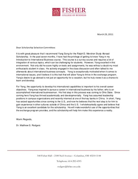 Recommendation Letter For Student Exchange Program Ralph D Mershon Study Abroad Scholarship Recommendation Letter