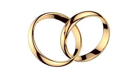 Wedding Rings No Background by Two Golden Interlocked Rings Rotating Loopable Stock