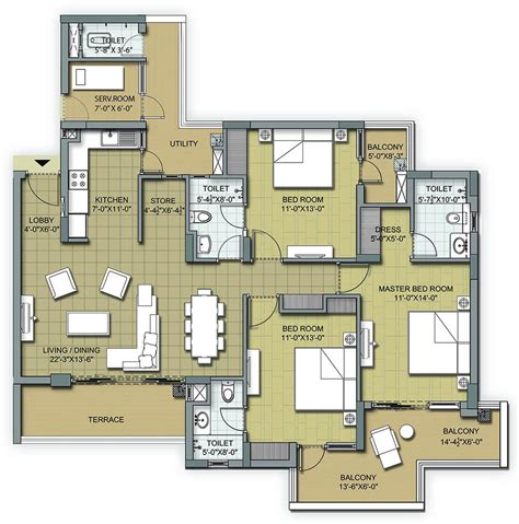 3bhk plan floor plans 3 bhk and 4 bhk apartments in chandigarh