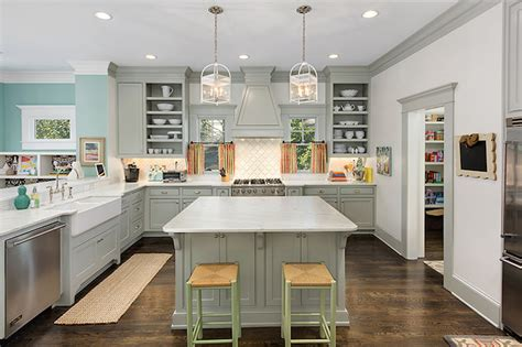 house beautiful ocean inspired kitchen urban grace grey cabinets contemporary kitchen benjamin moore