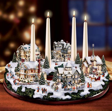 thomas kinkade holiday gathering centerpiece at ocean