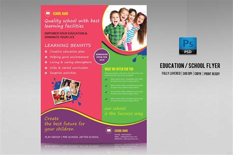 School Admission Flyer V213 Flyer Templates Creative Market College Flyer Template
