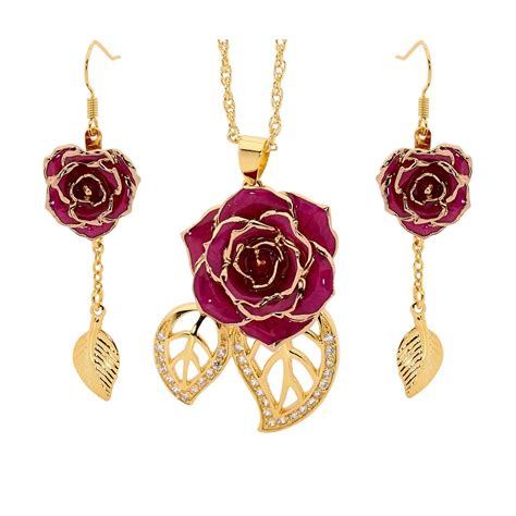 rose themed jewellery purple matched set in 24k gold leaf theme glazed rose