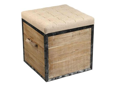 burlap  upcycled ottomans  french country