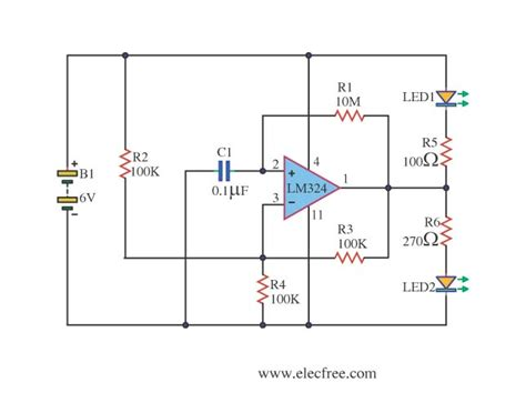 integrated circuit lm324 two led alternate display using lm324 eleccircuit